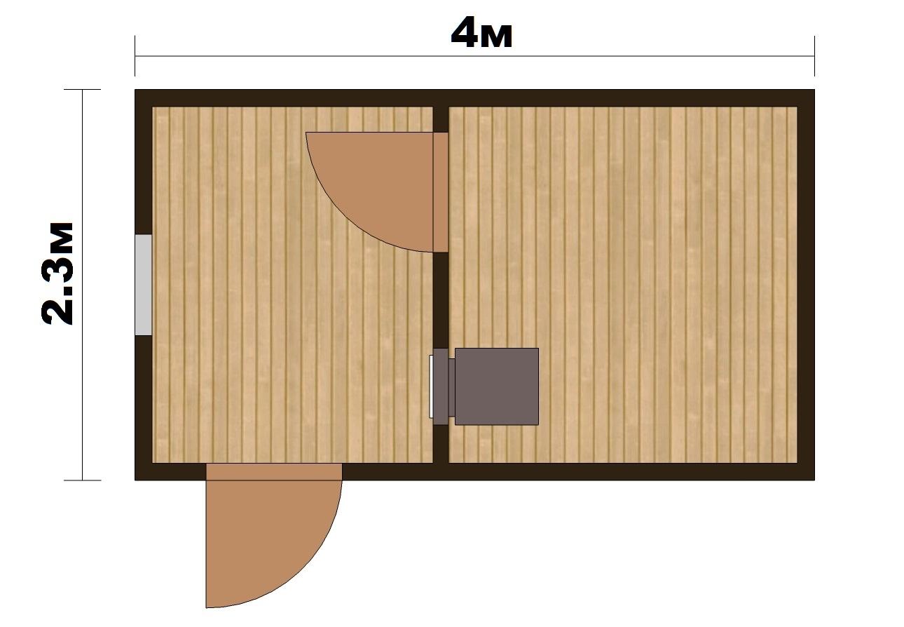 """Готовая Баня """"Парок"""" 4х2.4м - 1"""