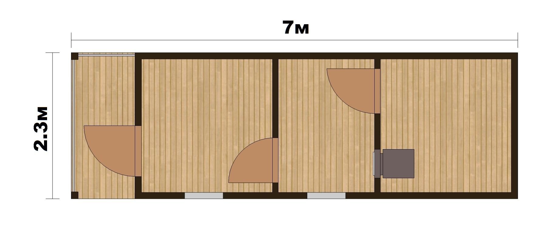 """Готовая Баня """"Парок"""" 7х2.4м с крылечком - 2"""